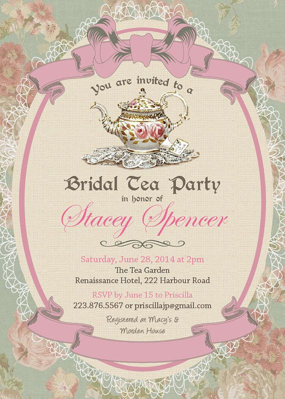 Vintage Tea Party Bridal Shower Invitation/Rsvp With Lace Envelope