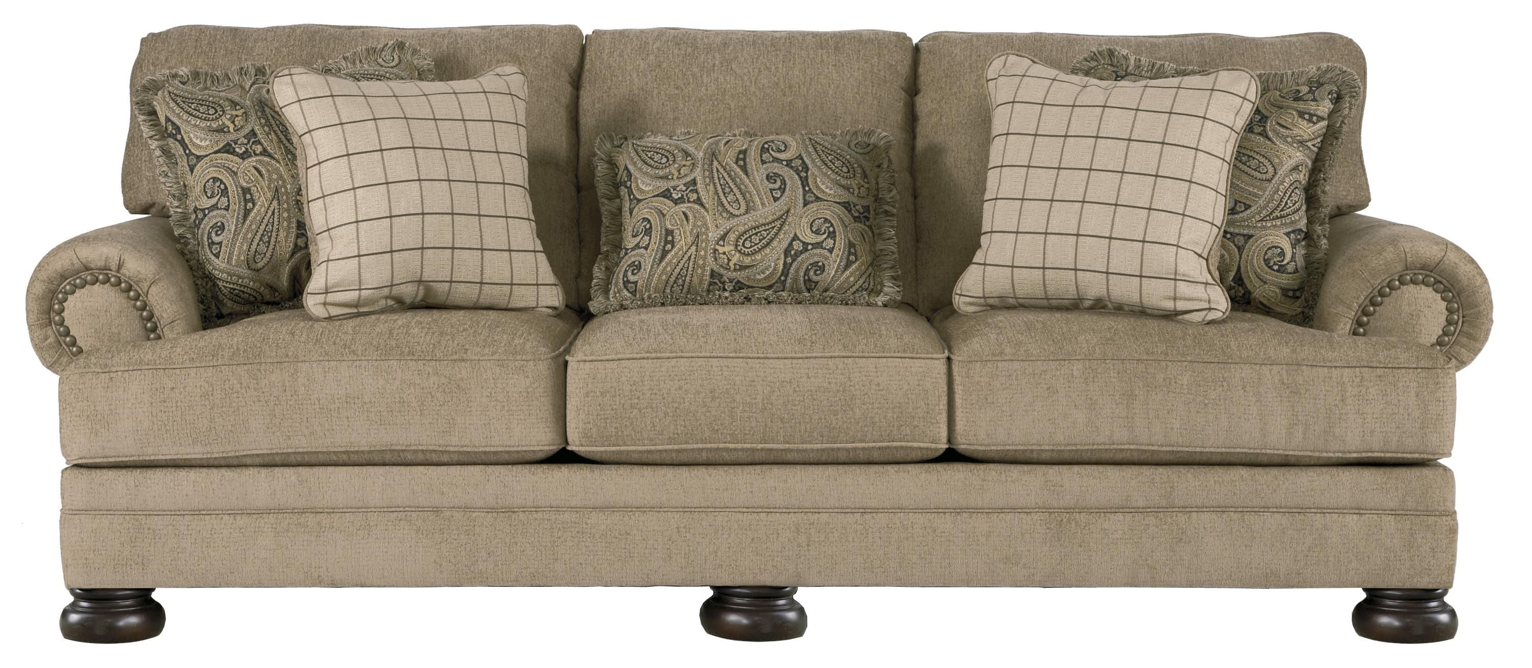Keereel Sand Transitional Sofa With Rolled Arms And Bun Feet By Signature Design Ashley At Royal Furniture