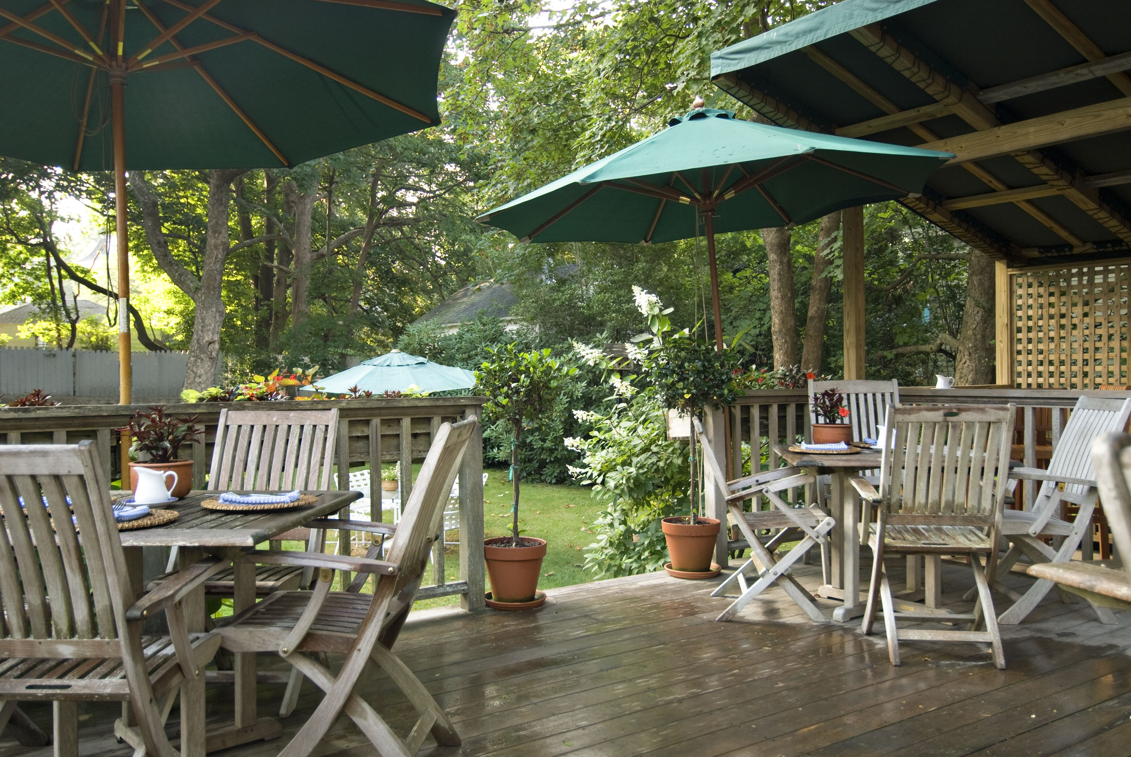 Back deck where guests can enjoy breakfast at Marshall