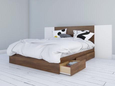 Nexera Foliage Storage Bed And Headboard With 2 Extension Panels Walnut And White Walnut And White Full Queen Size Storage Bed Platform Bed With Drawers Bed With Drawers