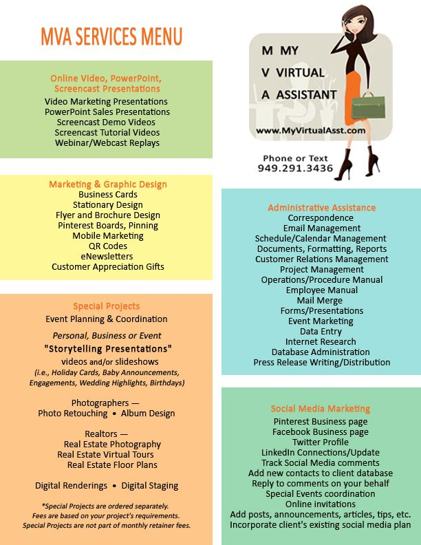 my virtual assistant services menu how can we help