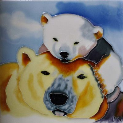 Continental Art Center Mom and Baby Polar Bear Tile Wall Decor