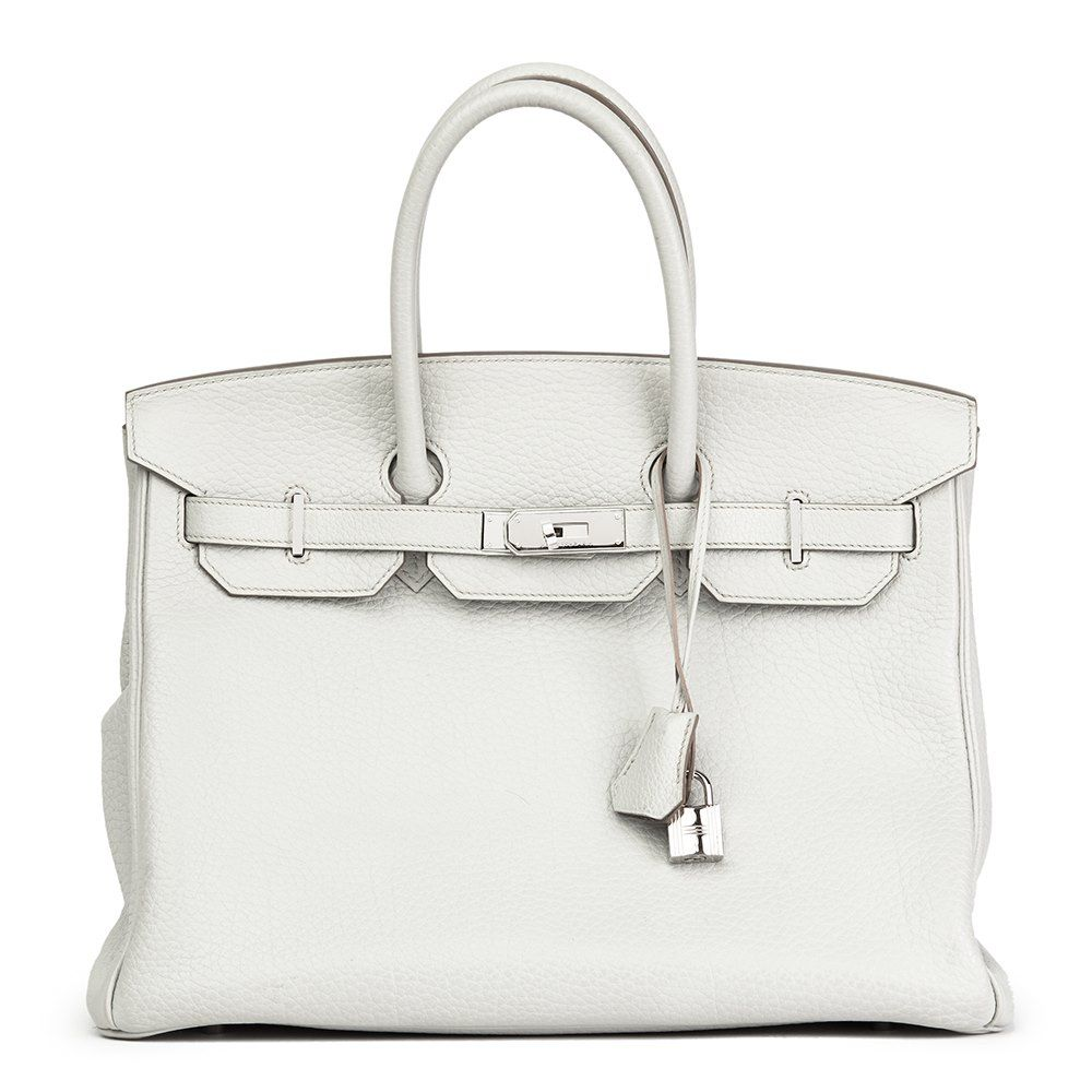 c27ffb366389 This is a pre-owned Hermès Birkin 35cm in Fjord Leather complemented by Palladium  hardware - HB1689. Free next day delivery.