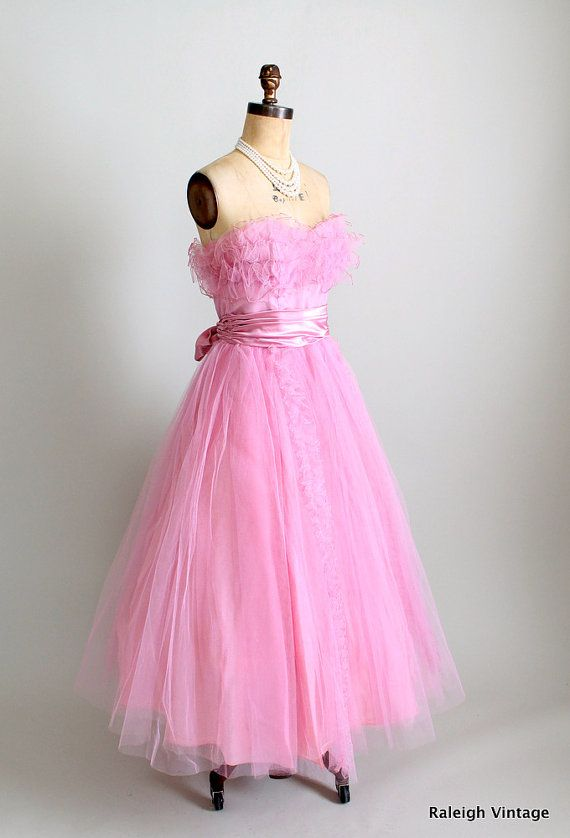 RESERVED...Vintage 1950s Dress : 50s Pink Tulle Prom Dress