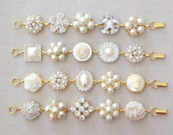 Gold or Silver wedding bracelet, vintage wedding earring bracelet, crystal, white, bracelet, repurposed, jewelry, bridesmaid gift, ivory