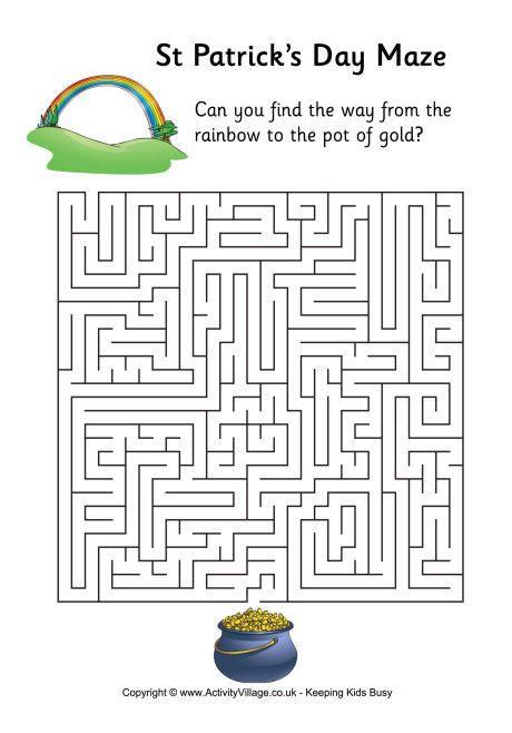 St Patrick S Day Maze Difficult St Patrick S Day Words St Patrick Day Activities St Patrick S Day Crafts Saint patricks day worksheets