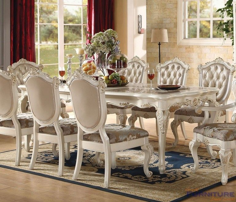 Acme Furniture Chantelle Marble Top Pearl White Dining