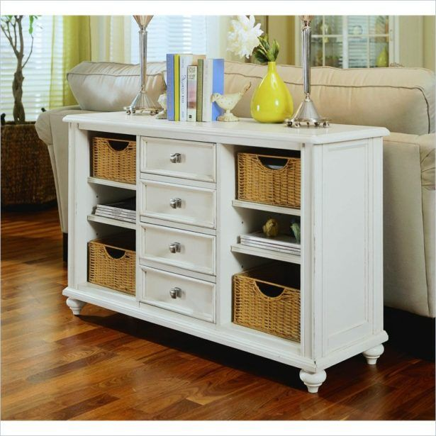 Furnitureconsole Table With Storage Baskets White Console Table