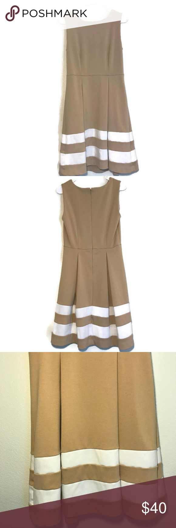 Calvin Klein Fit And Flare Tan And White Dress Professional Dresses Fit And Flare Dress Clothes Design [ 1740 x 580 Pixel ]