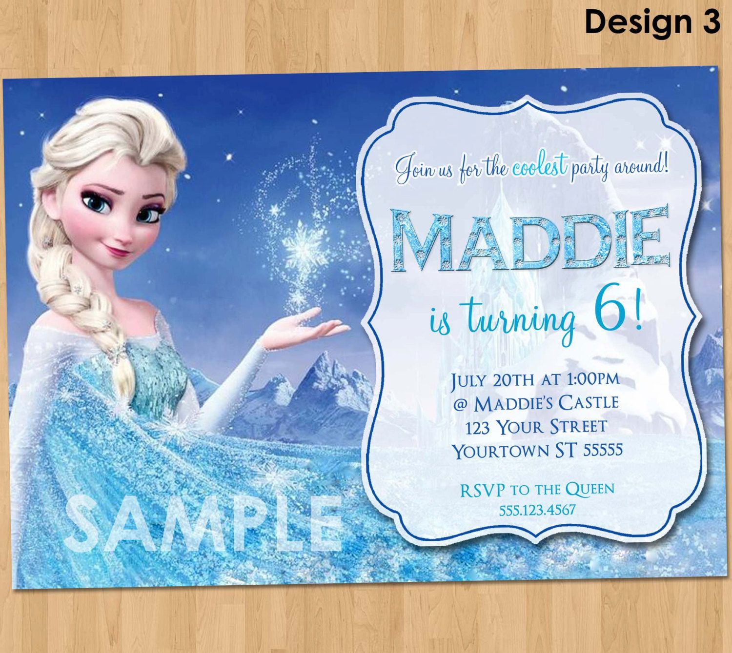 design custom frozen birthday party invitations in conjunction