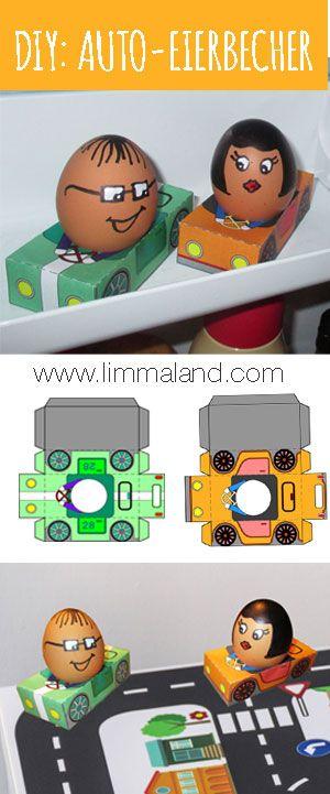 Eierbecher basteln für Ostern: So bekommen Eierköpfe endlich einen fahrbaren Untersatz... Free Printable / DIY / Bastelidee für Kinder