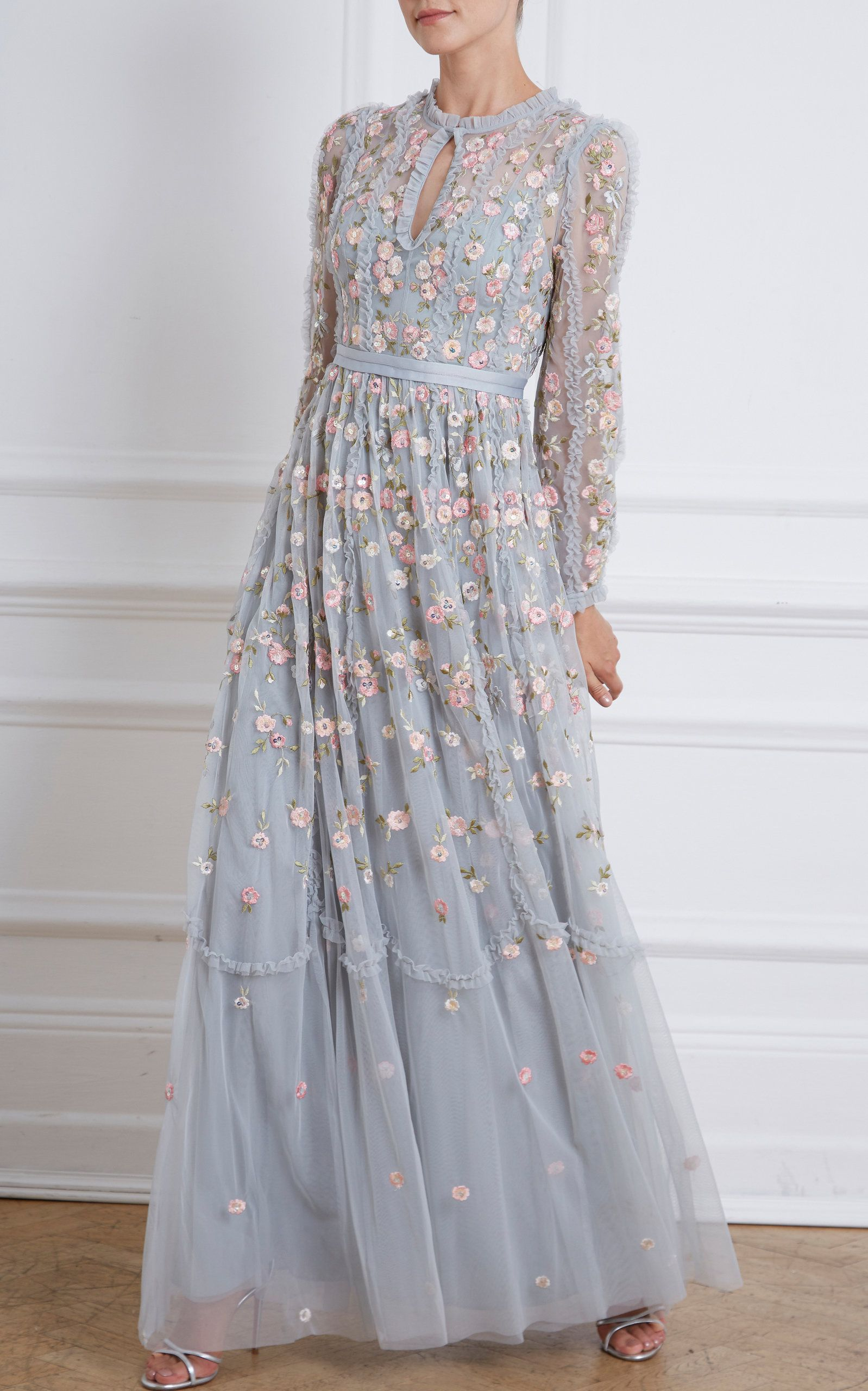 Needle & Thread Wallflower Embroidered Tulle Maxi Dress in 16