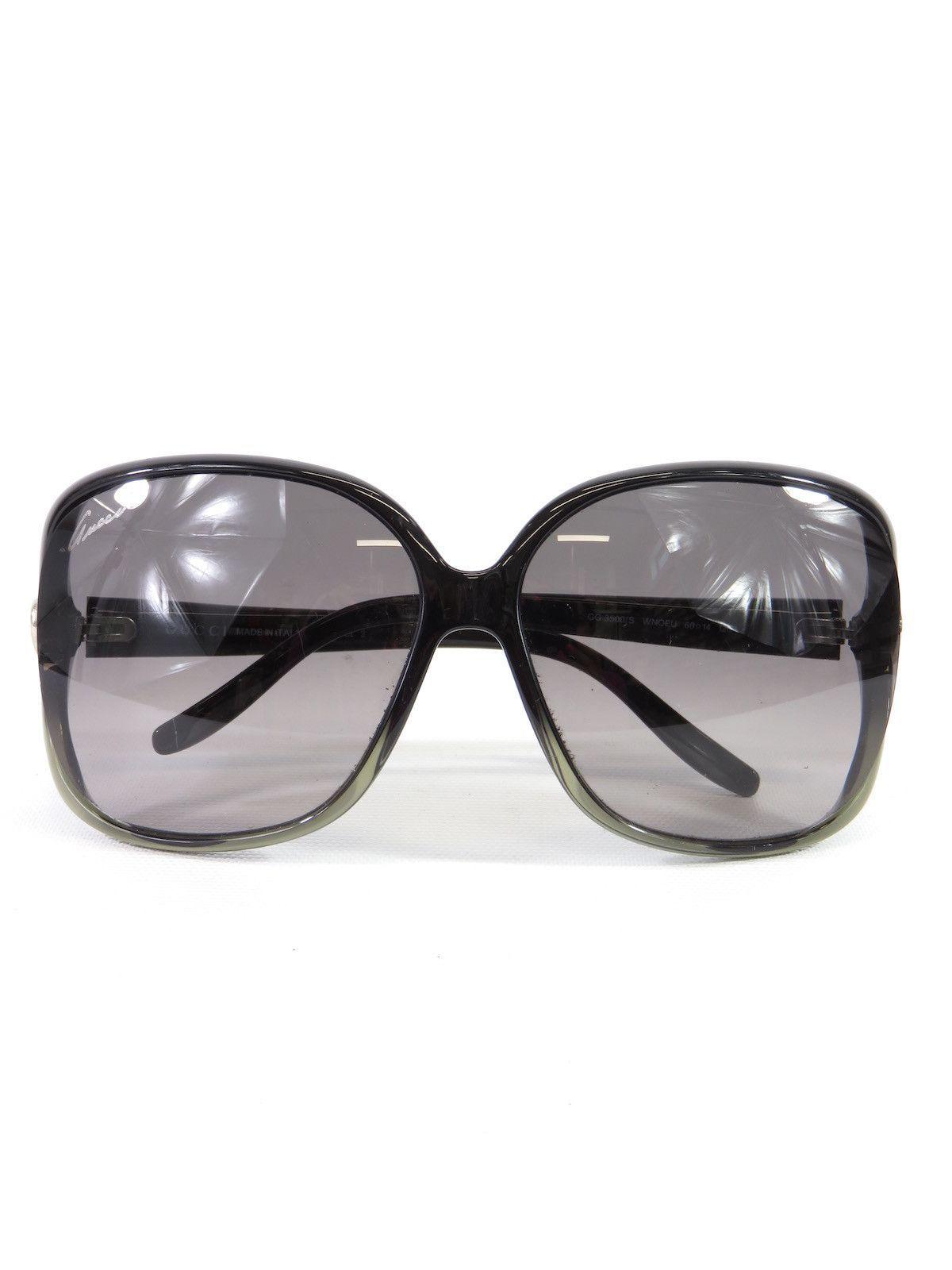 cdf760776b NEW! GUCCI Women Black Ombre Oversized Square Sunglasses GG Heart ...