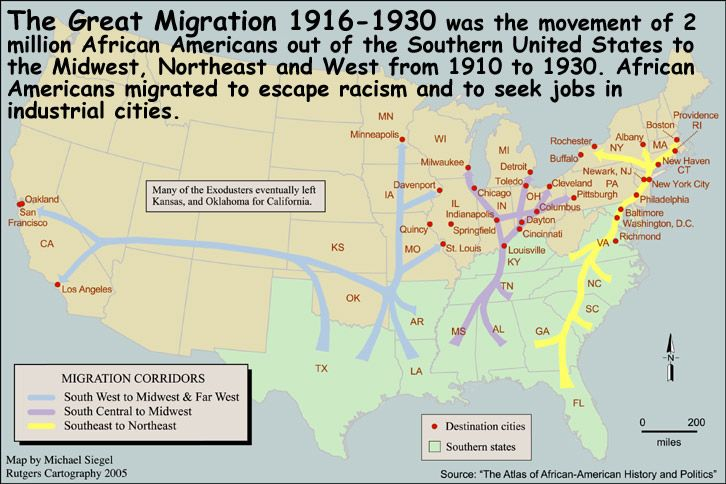 The great African American migration   History   The great ... on map of filipino migration, map of jewish migration, map of europe migration, map of black migration, map of jazz migration,