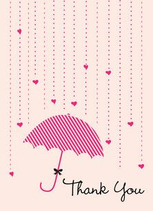 pink heart shower thanks bridal shower thank you card