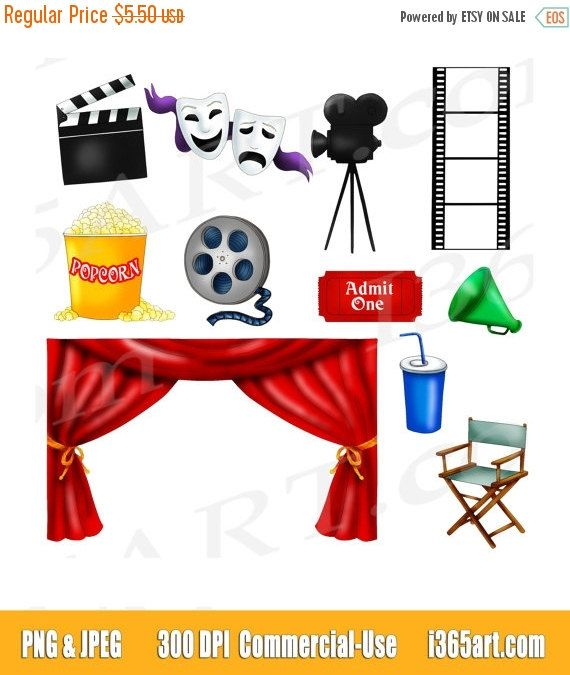 50 OFF Sale Movie Clipart Clip Art Theater Night Cinema Scrapbooking Invitations Reel Graphics By I365art On Etsy