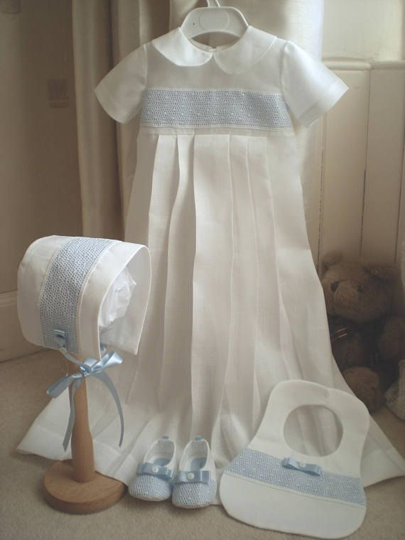 e8d798e85 Baby boy christening gown. Vintage style gown. Irish linen and Cluny ...