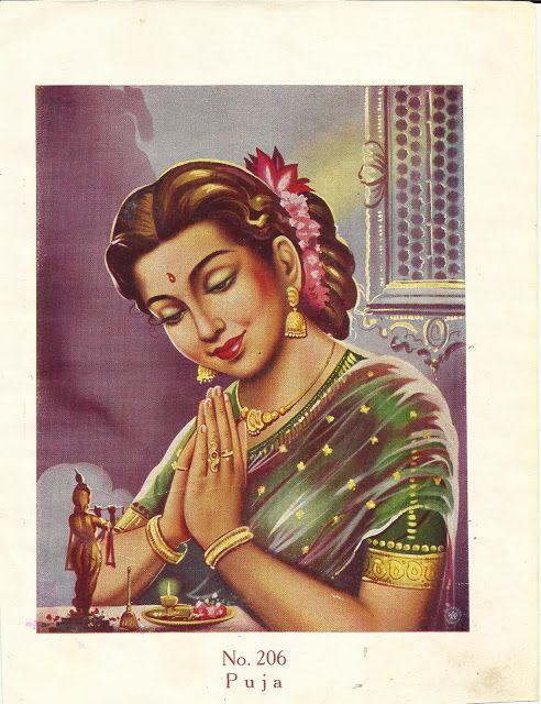 Beautiful Indian Woman Performing Prayer Vintage Art Print Indian Illustration Indian Art Paintings Indian Paintings