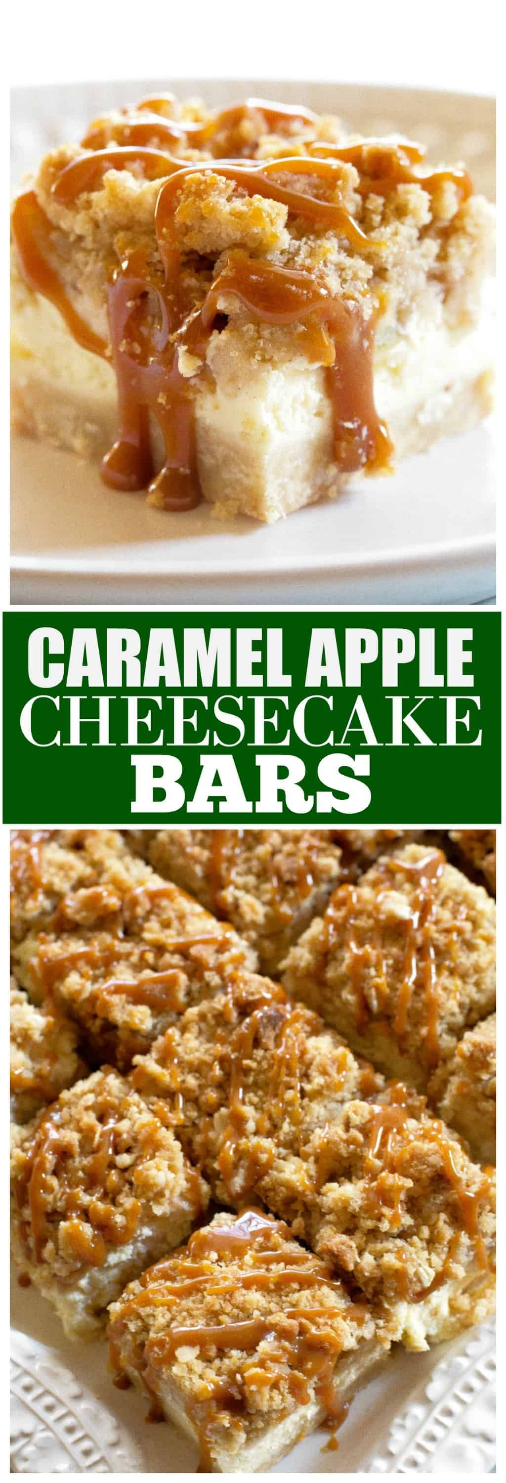 Caramel Apple Cheesecake Bars - These have a shortbread crust and a thick cheesecake layer!