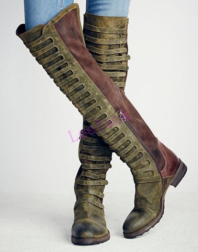 Retro Women Real Suede Low Heel Roman Zip England Over Knee High Boots Shoes New