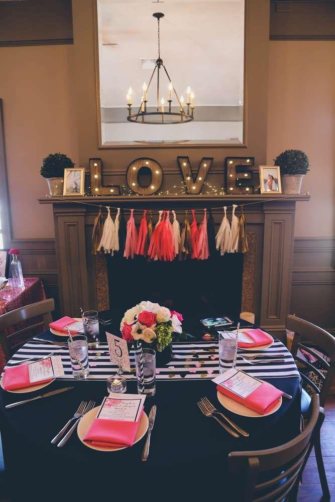 Black White Pink Amp Gold Bridal Wedding Shower Party