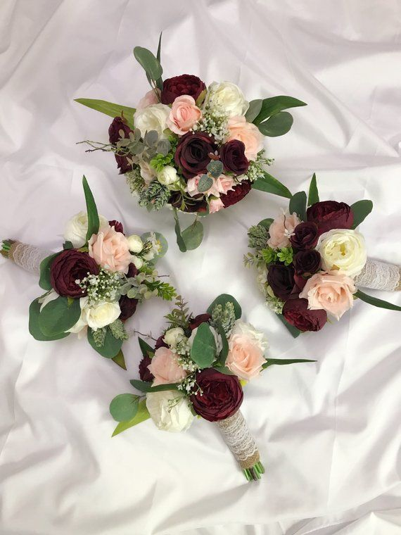 Wedding Bouquets, Bridal Bridesmaids Bouquets, Winter Wedding Bouquet, Burgundy Blush Pink Rose Bouquet, Boho Bouquet, Peonies, Eucalyptus #bridesmaidbouquets