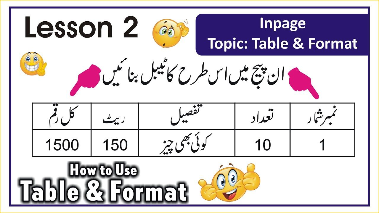 How to Create and Format Table in Inpage Inpage Tutorial