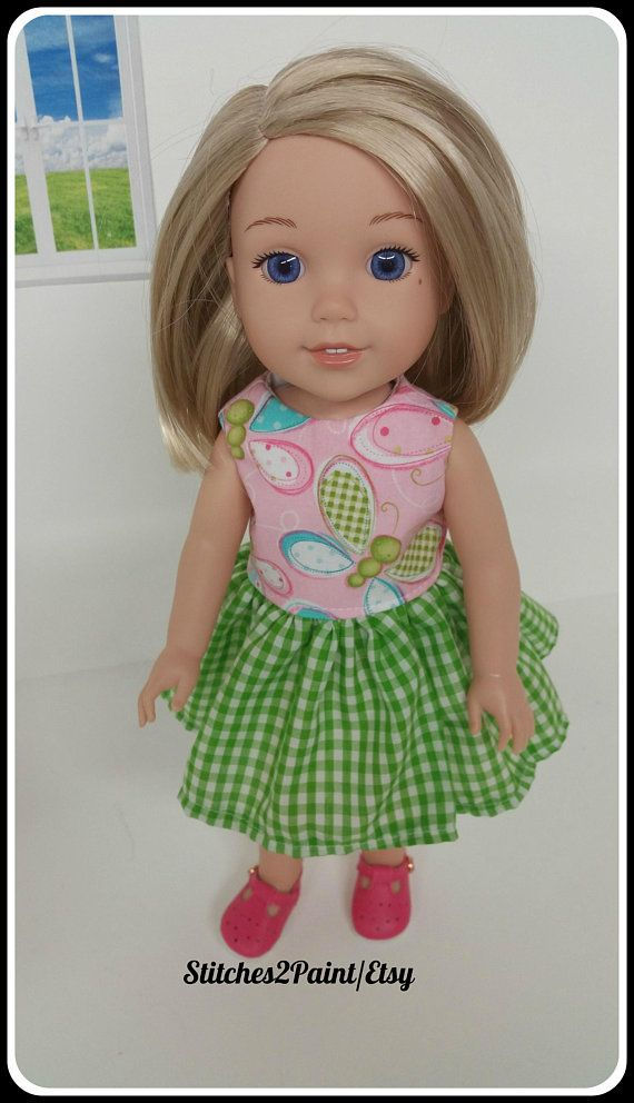 """Doll Clothes 14.5/"""" Dress Pink Plaid Butterfly Fit 14.5/"""" AG Wellie Wishers Dolls"""