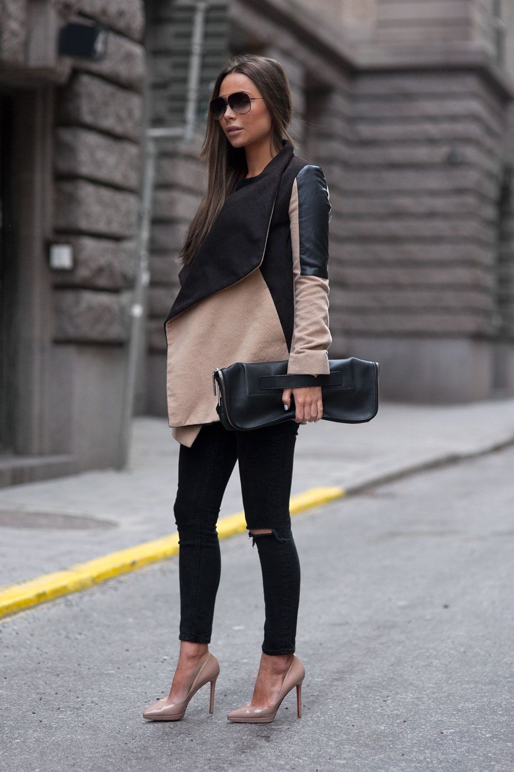 0f4c579af05f1 Johanna Olsson is wearing a camel and black jacket from River Island, nude  shoes from Christian Loboutin, black jeans from Asos and the bag is from  3.1 ...