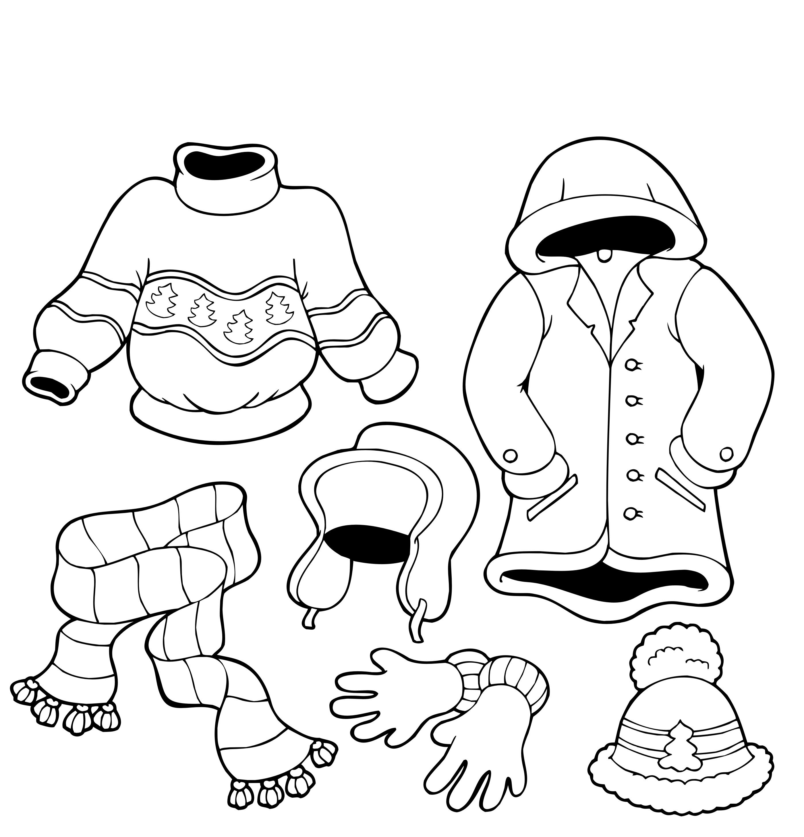 Childrens winter colouring pages - Winter Clothes Coloring Sheet For Children Clothes Stations