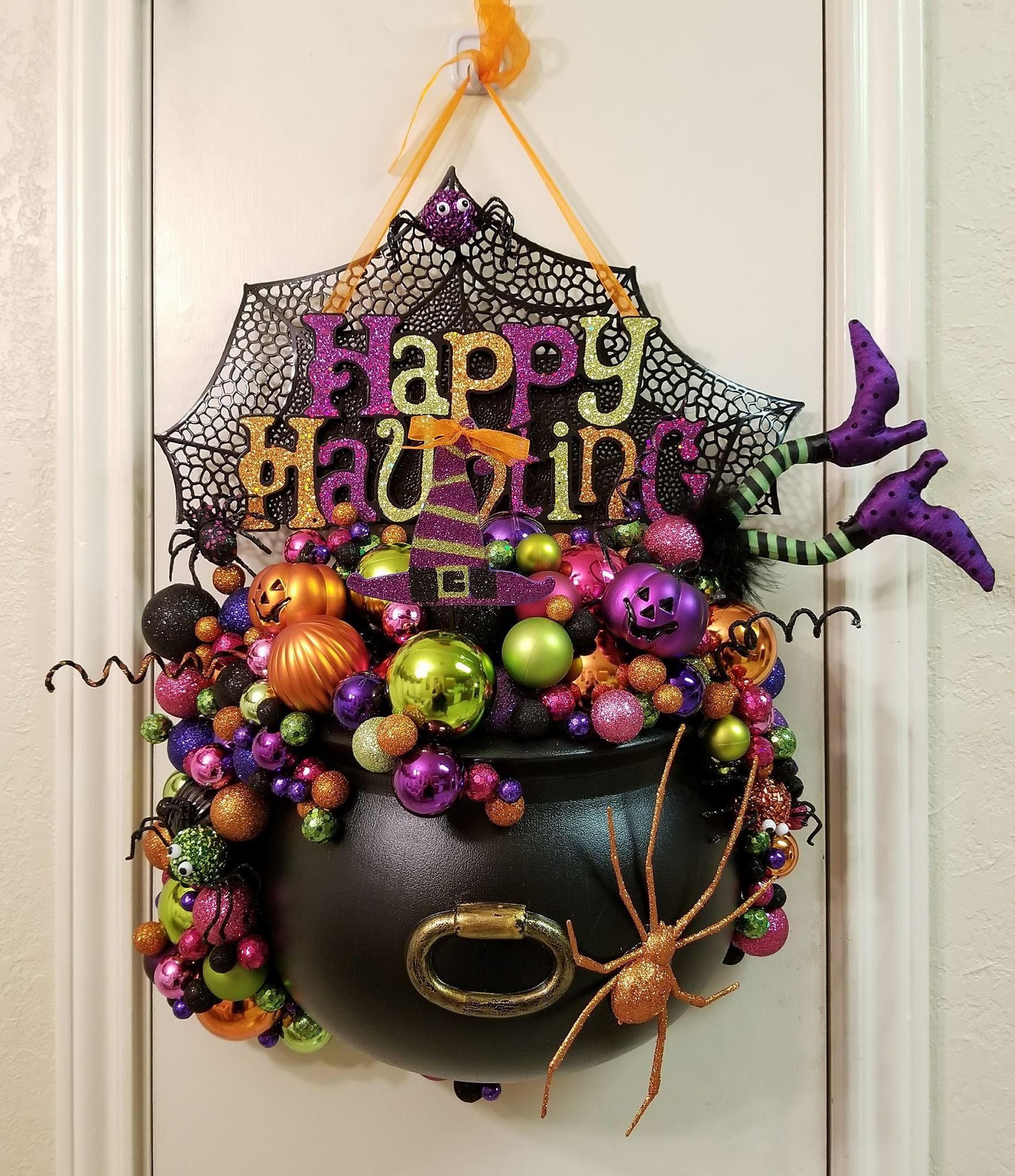 Witches Cauldron Door Hanger Halloween Door Hanger Halloween Etsy Diy Halloween Wreath Halloween Wreath Halloween Diy