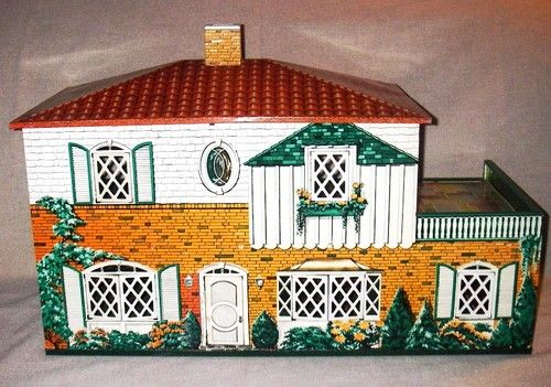 Vtg Toy Tin Doll House Marx T Cohn Superior Toy Co. 2 Story 1950 Lithograph