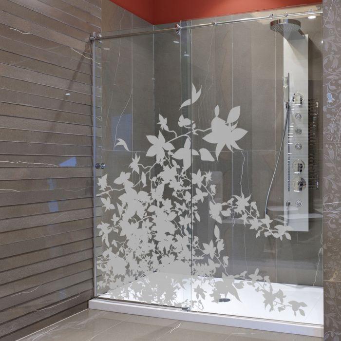 Decoration De Salle De Bain Sur Un Pare Douche Avec Un Film Pour Vitres Transparent Ou Depoli Ou Su Door Glass Design Shower Door Designs Glass Doors Interior