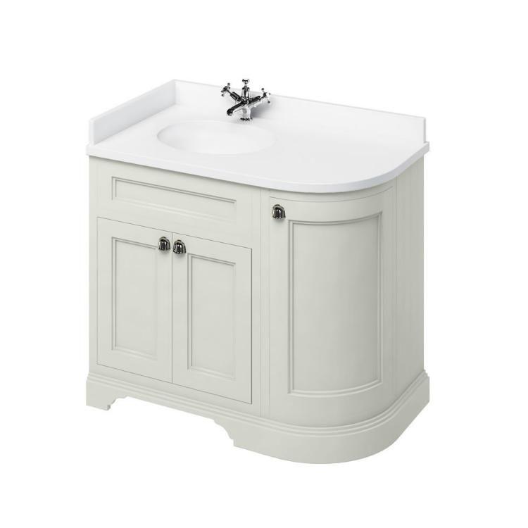 Burlington Sand 1000mm Curved Freestanding Vanity Unit Worktop Left Hand Basin In 2020 Freestanding Vanity Unit Bathroom Vanity Units Vanity Units