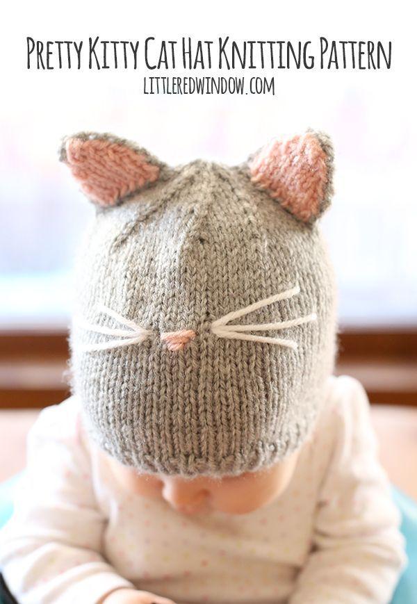Pretty Kitty Cat Hat Knitting Pattern | Knit patterns, Kitten and Cat