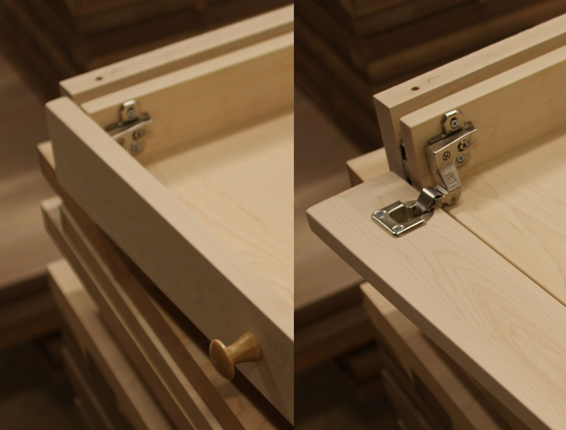 Hinged Drawer Slides : Test fitting a shiny new hinge for drawer front keyboard