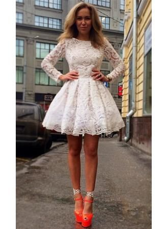 Long sleeve short winter formal dresses