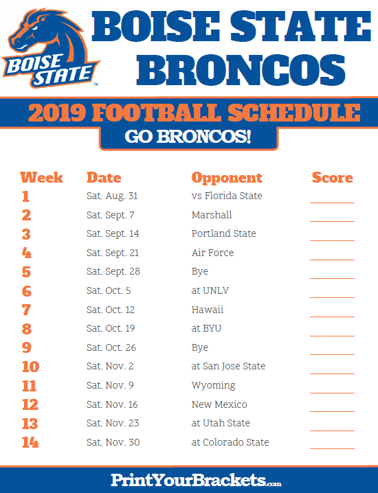 image about Denver Broncos Schedule Printable named Printable 2019 Boise Country Broncos Soccer Plan