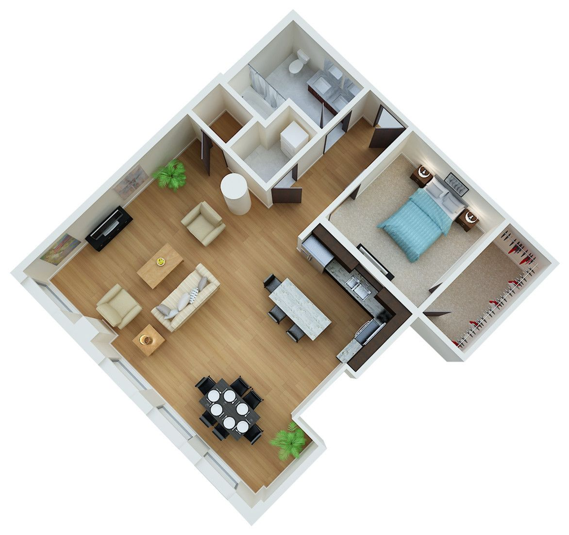 Irvine 1 Bedroom Small House Plans Bedroom Floor Plans House Layouts