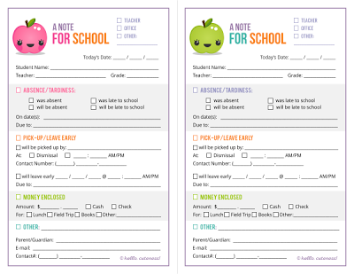 mommy and things free school note printable - Cute Things To Print Out