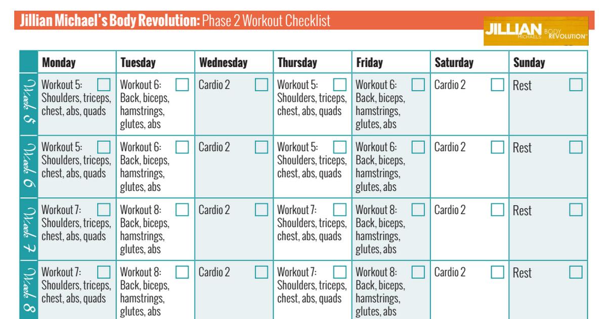 Jillian Michaels Body Revolution Phase 2 Checklist Pdf