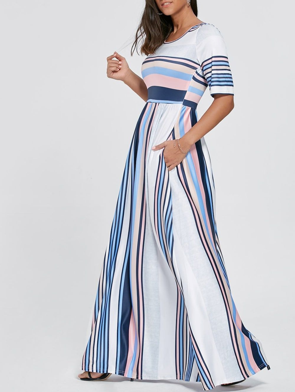 Half sleeve color block striped maxi dress Прочее Женская одежда