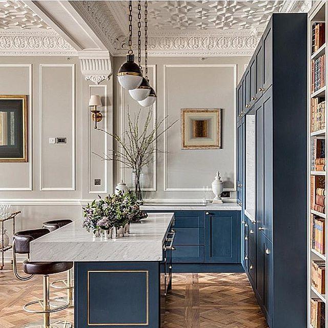 Blue Kitchen Ceiling: Dreamy Kitchen In Blue!! So Elegant.