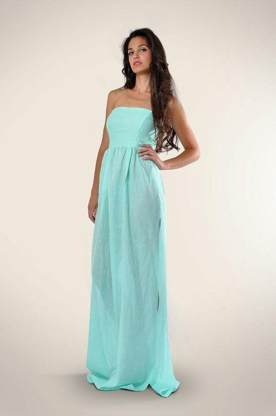 Strapless sheer maxi dress