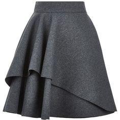 Alexander McQueen Double Layer Flare Skirt (1,555 CAD) ❤ liked on Polyvore featuring skirts, mini skirts, bottoms, saias, gonne, mini skater skirt, layered skirt, short skirts, layered ruffle skirt et flounce skirt