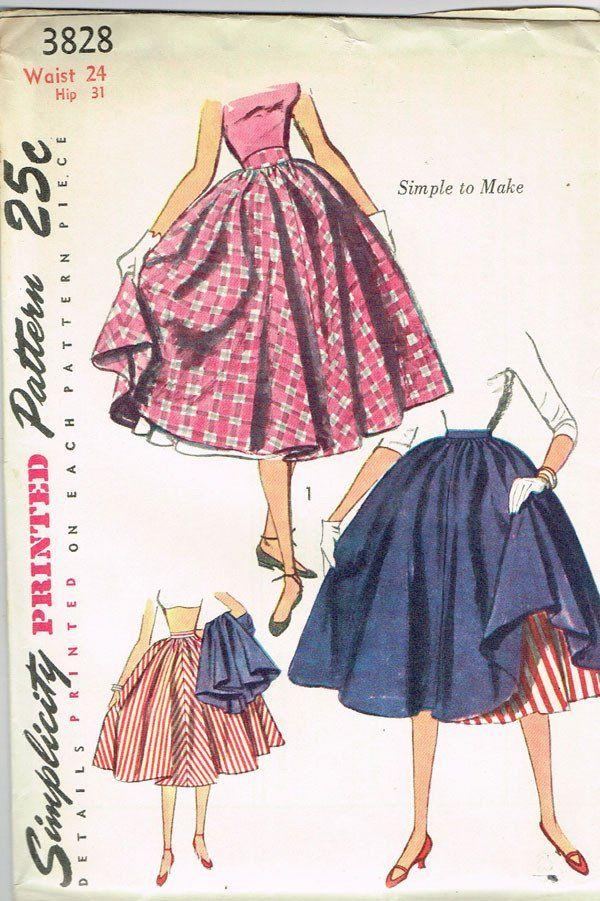 1950s Vintage Simplicity Sewing Pattern 3828 Uncut Misses Skirt ...