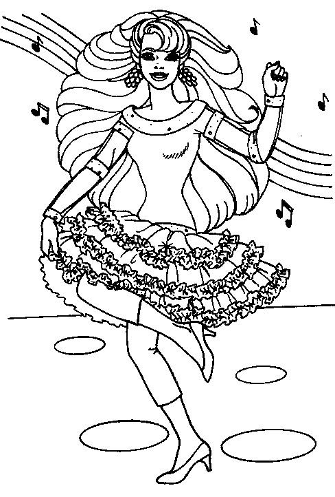 Barbie Coloring Pages Black And White : Motorcycle coloring pages singing and dancing barbie