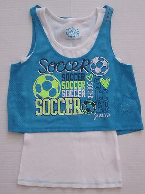 89dcd4cf8e454 NWT Justice Girls Soccer Aqua Blue + White Tank Top Shirt Size 8 10 12 16 18  NEW