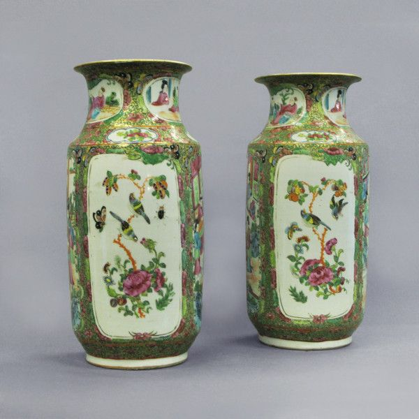 A Pair of Qing Dynasty Canton Vases as Lamp Bases