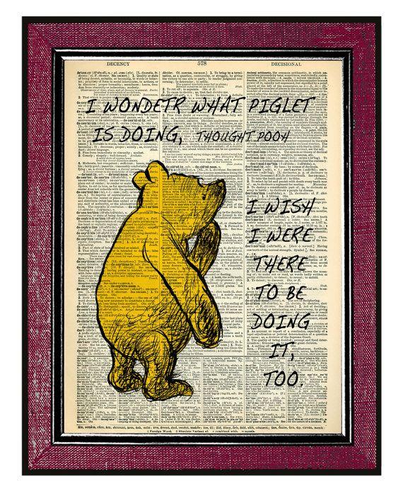 WINNIE The POOH 3 Book Art Illustration Pooh Portrait Typography ...